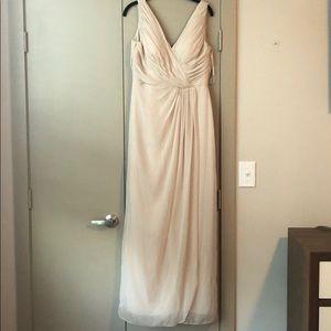 Dessy champagne bridesmaids dress